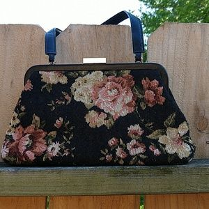 Express black and pink floral purse